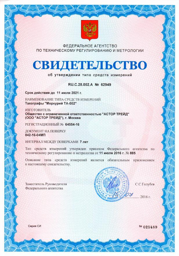 Сертификак о включении в Государственный реестр средств измерений